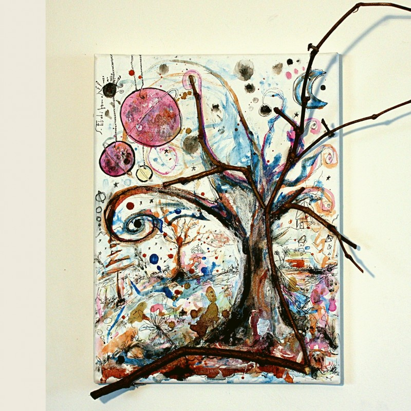"Saverio Filioli ""Il padre, la madre, l'uno, l'albero"" mixed media on canvas 30x40 cm"