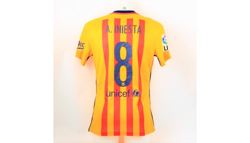 Iniesta's Barcelona Match Shirt, Liga 2015/16