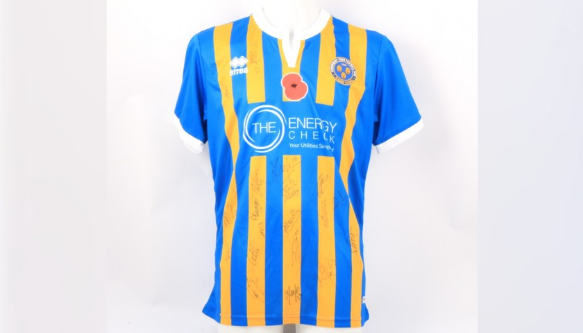 Shrewsbury Town Official Poppy Shirt Signed by the Team