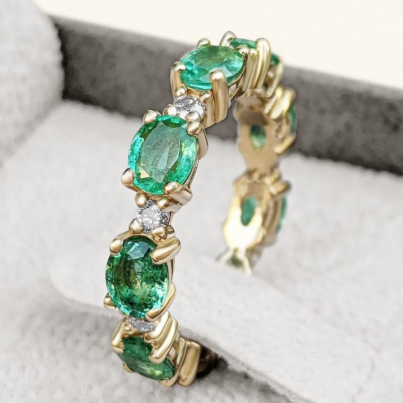 Emerald and Diamonds Eternity Band - 14K Gold