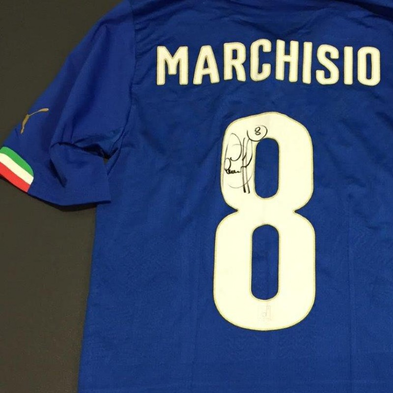 Marchisio match shirt issued for Italy-England, 3/31/2015 - signed