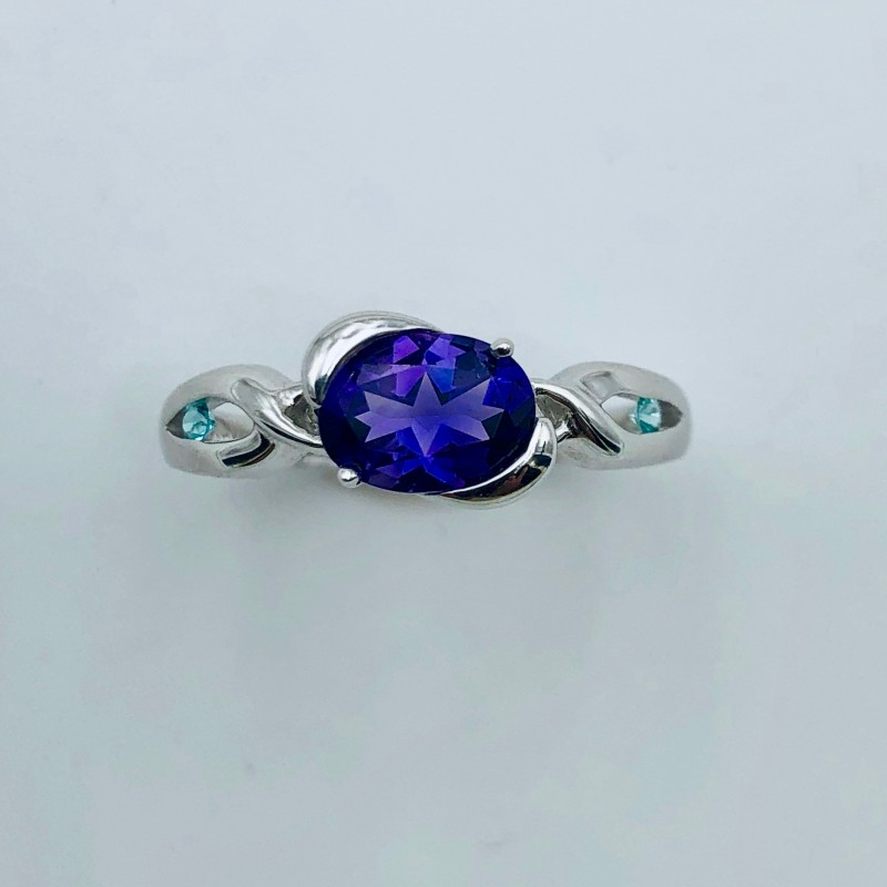 14KT White Gold Amethyst and Paraiba Tourmaline Ring