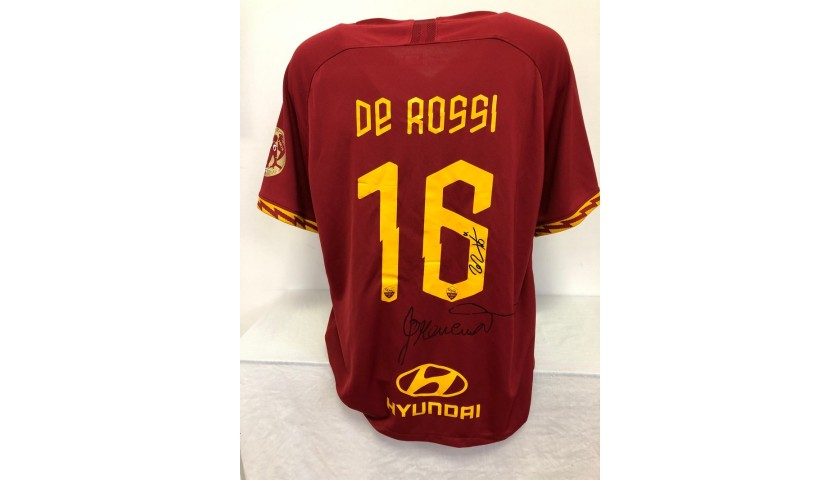De Rossi's Official Roma Signed Shirt, 2018/19 Special Patch
