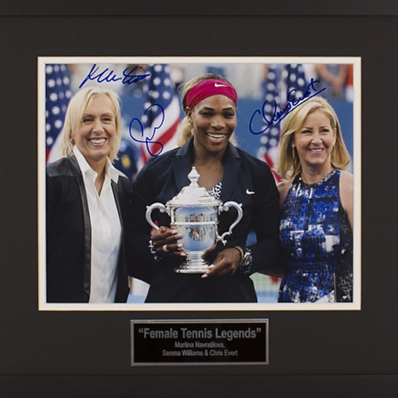 Fotografia autografata dalle grandi del tennis: Martina Navratilova, Serena Williams, Chris Evert