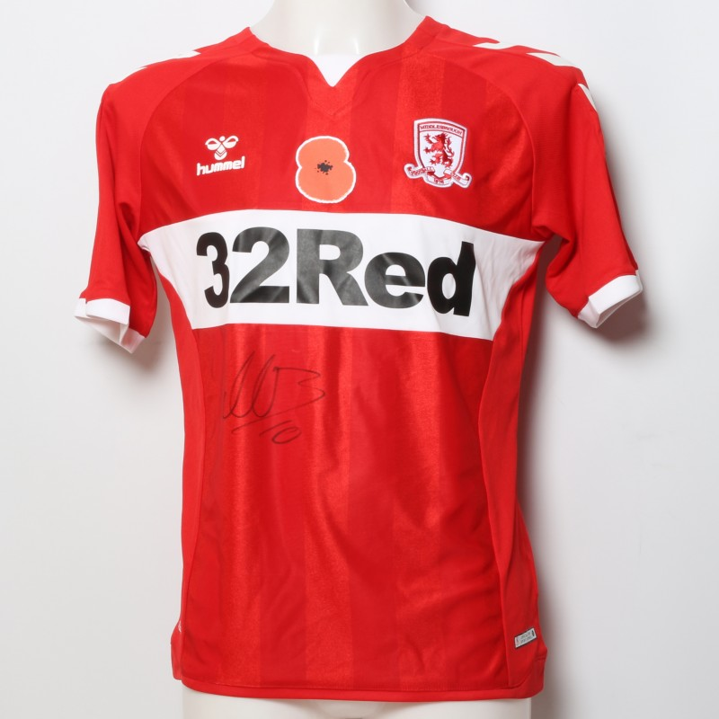 Martin Braithwaite's Middlesbrough Worn and Signed Home Poppy Shirt