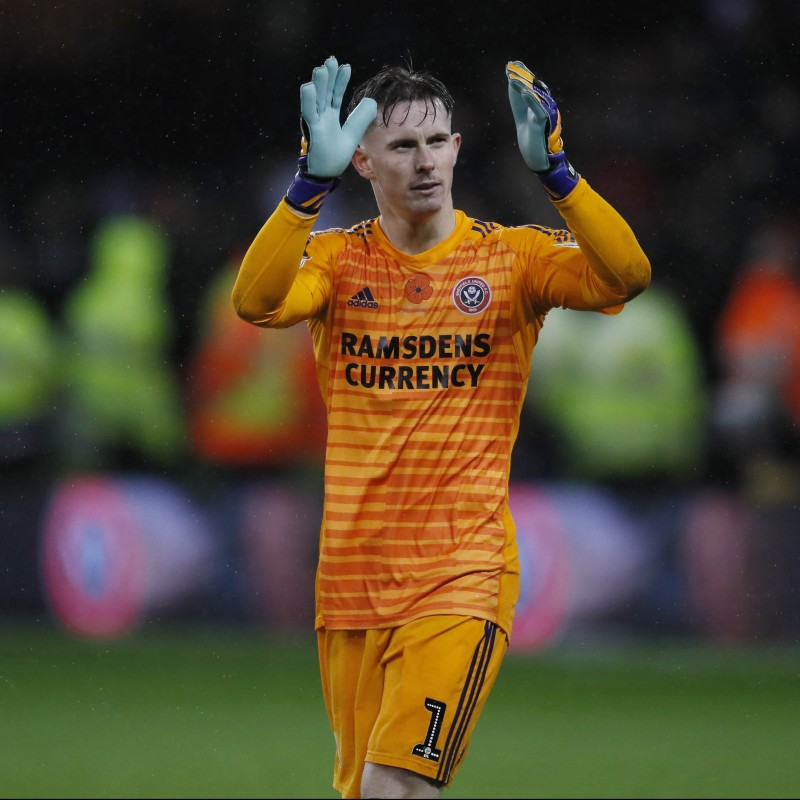 Dean Henderson's Sheffield United Worn and Signed Poppy Home Shirt