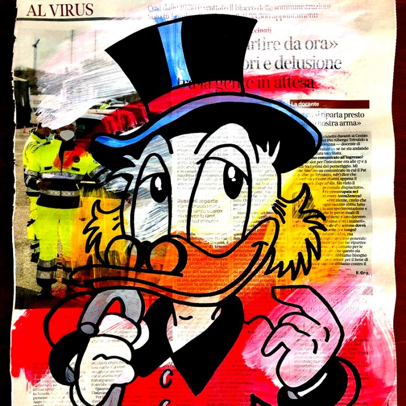 """Uncle Scrooge Typographic"" Original Board by Riccardo Penati"
