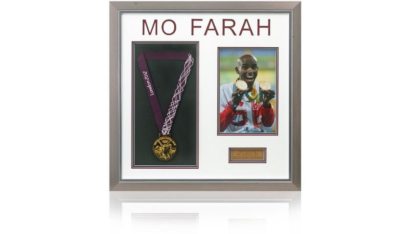 Mo Farah Hand Signed Olympics Gold Medal Presentation