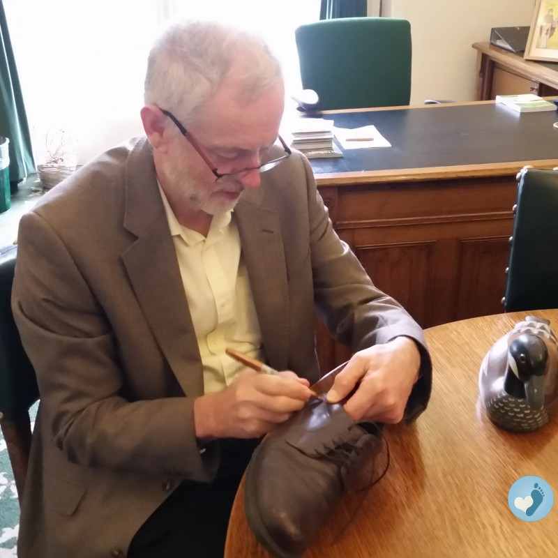 Jeremy Corbyn's Autographed EMYCO Brown Leather Lace Up Shoes from His Personal Collection