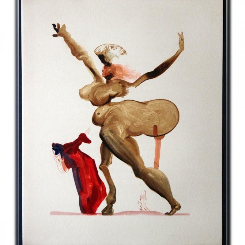"Original Board by Salvador Dalì - ""Manto"" Inferno Canto XX"