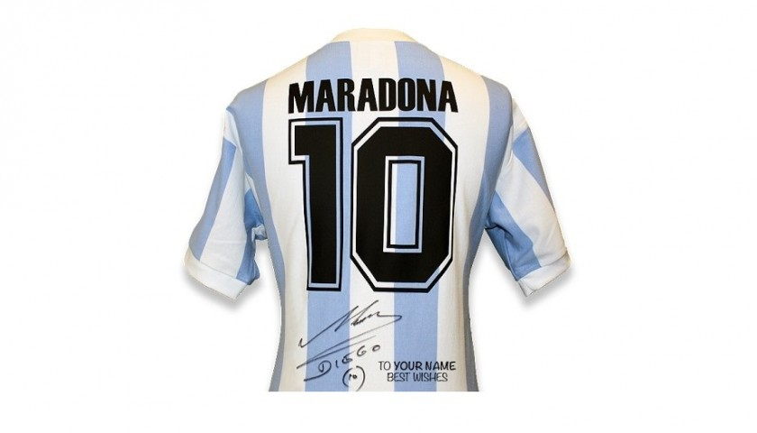 Official Signed and Personally Dedicated Maradona Argentina 1986 Shirt
