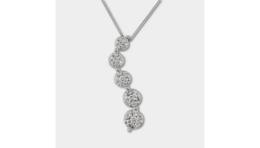 14KT White Gold Diamond Journey Pendant