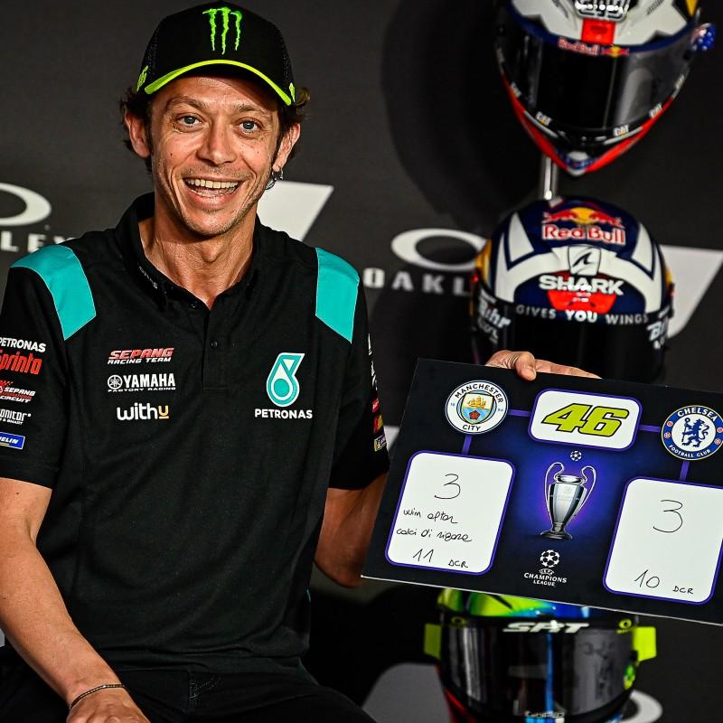 Champions League Final Score Prediction Board Signed by Valentino Rossi