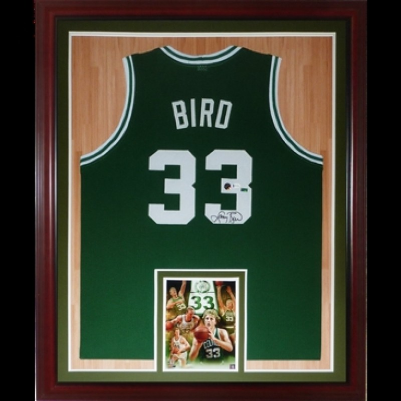 Larry Bird Signed Boston Celtics Framed Jersey