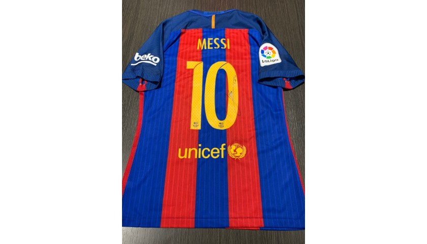 Messi's Barcelona Signed Match Shirt, 2016/17