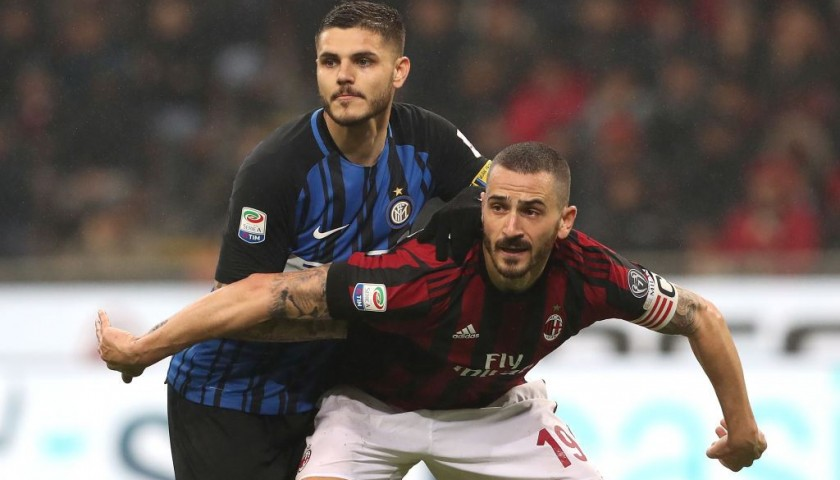 f8777462446b73 Bonucci's Unwashed Match-Worn Milan-Inter Shirt with Special Patch ...