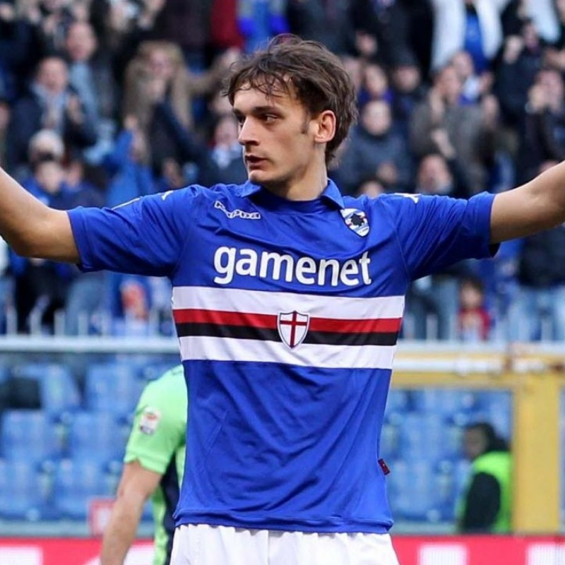 Gabbiadini's Worn Shirt, Sampdoria-Chievo 2014