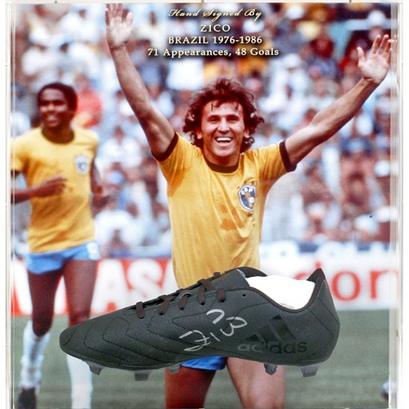 Zico Hand-Signed Brazil Football Boot Presentation