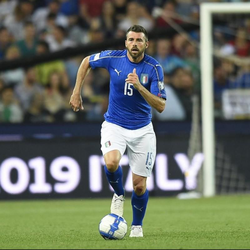 Barzagli's Match Signed Shorts, Italy-Spain 2016