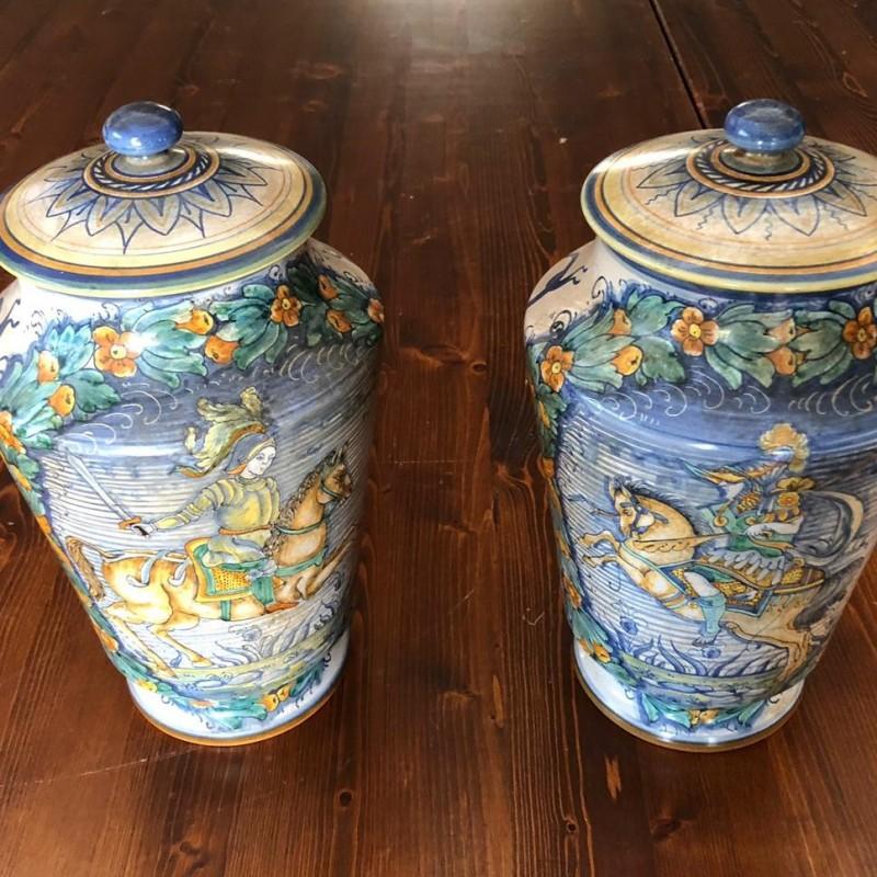 Pair of Deruta Vases