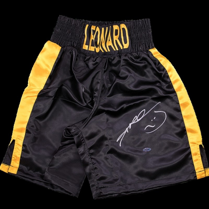 Sugar Ray Leonard, Black/Gold Trunks Signed