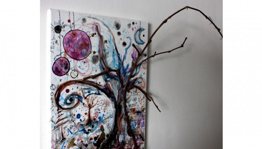 """Saverio Filioli """"Il padre, la madre, l'uno, l'albero"""" mixed media on canvas 30x40 cm"""