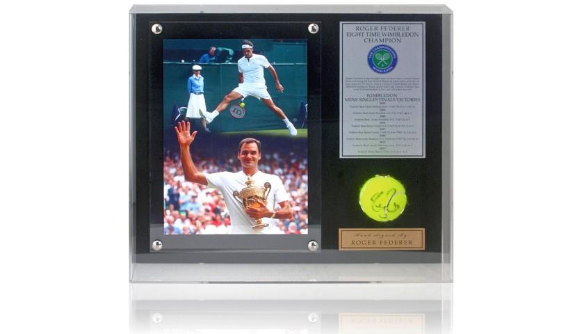 Roger Federer Hand Signed Tennis Ball Wimbledon Display