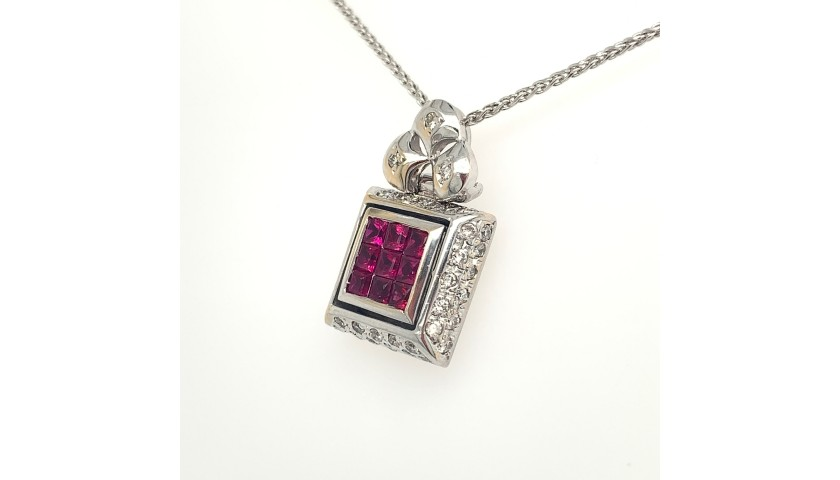 18KT White Gold Ruby Pendant with Diamonds