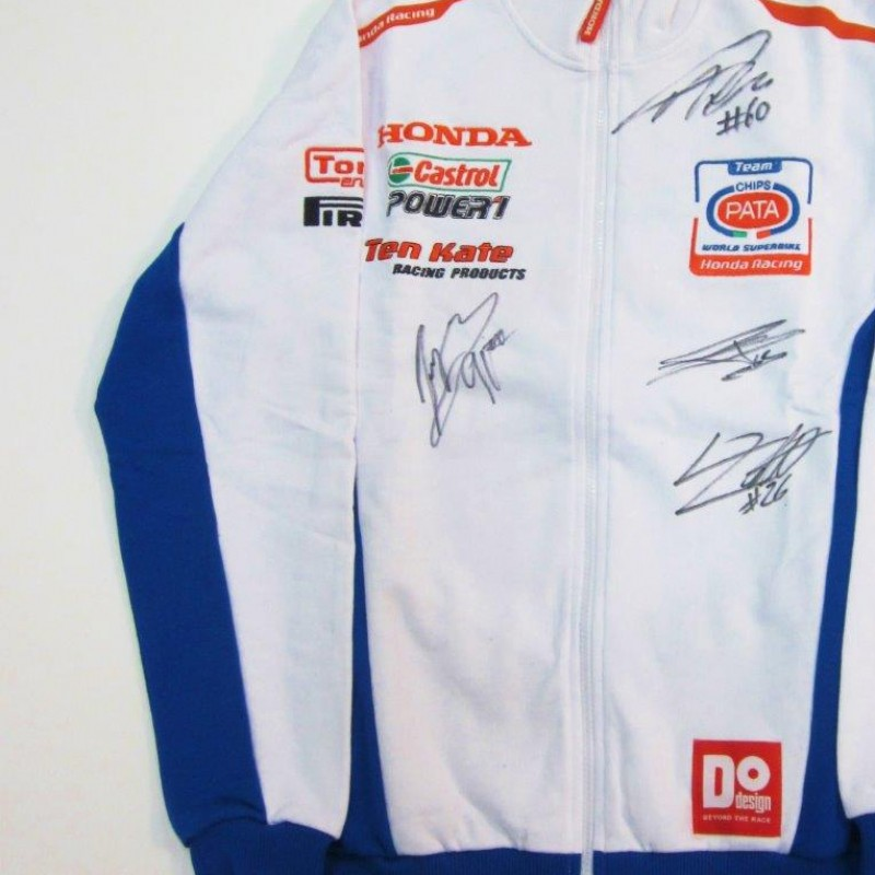 Team Pata Honda SBK sweatshirt signed by the riders