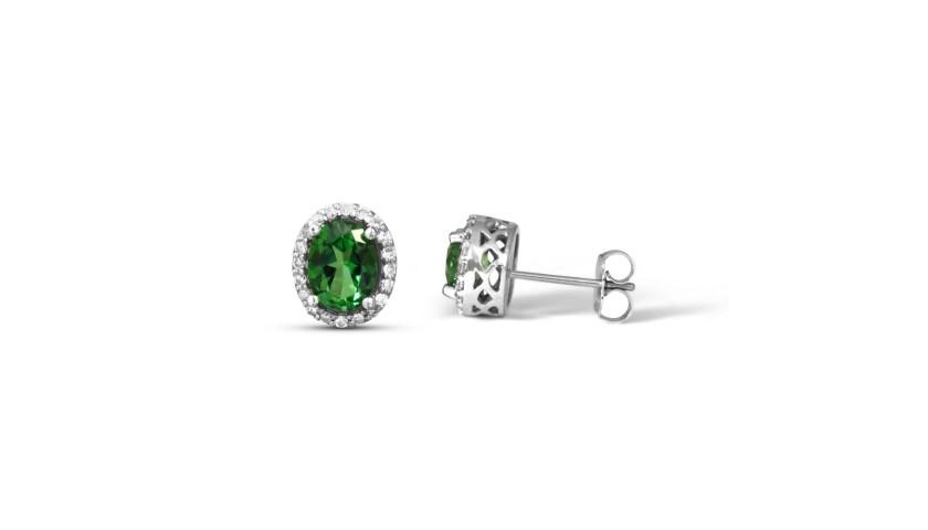 Green Topaz and Diamond Earrings in 14KT White Gold
