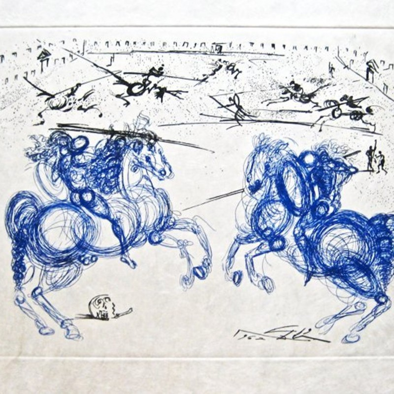 "Original Etching of ""Combat des Cavaliers"" by Salvador Dali, Signed"