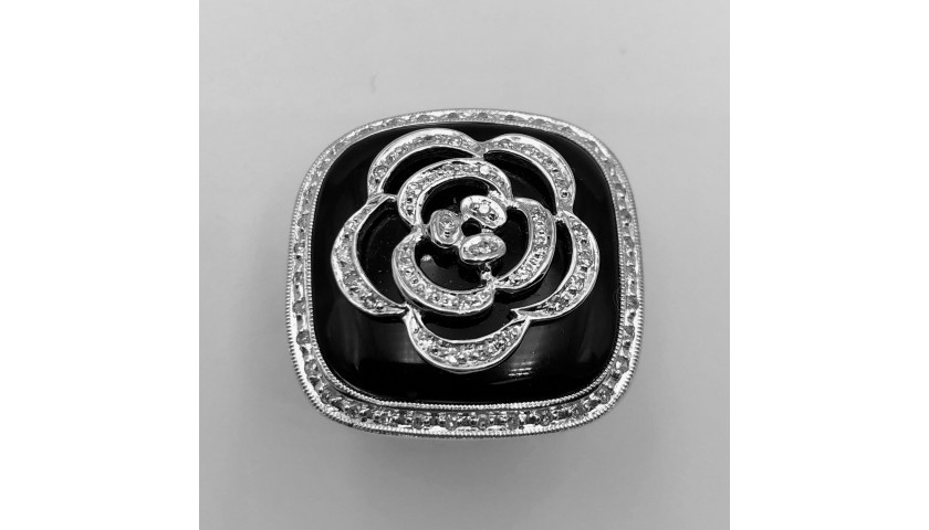14KT White Gold Onyx and Diamond Ring