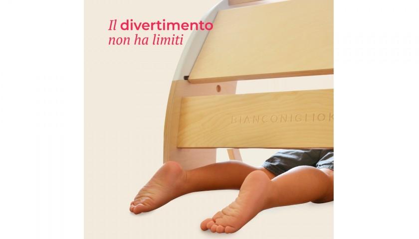Bianconiglio Kids /® DONDO Rocker Table Bi-Color Tavolo Multifunzione Bambini Rocker Board e Ponte Pikler