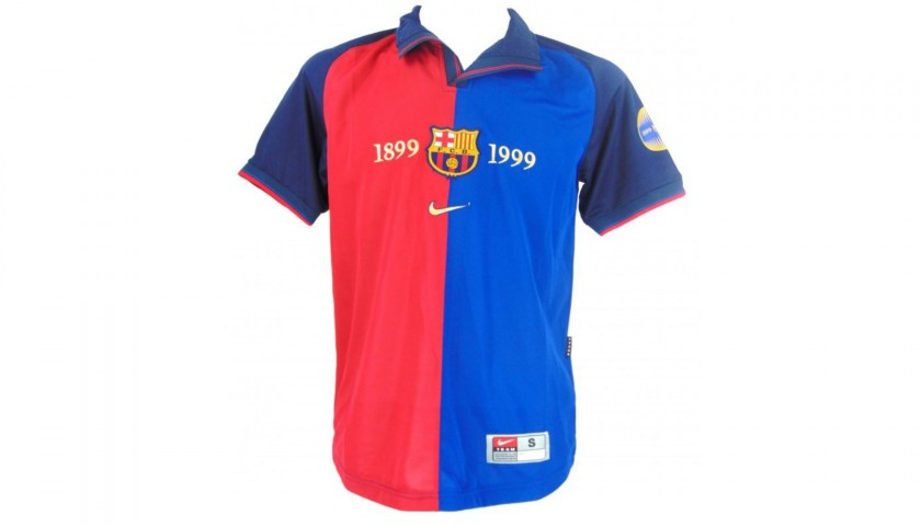 super popular fb3d1 9a8c2 Official Barcelona Centenary Shirt Signed by Rivaldo - CharityStars