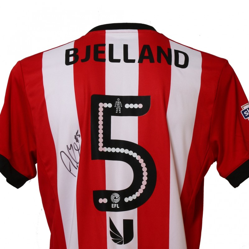 Official Match-Issued Poppy Shirt Signed by Brentford FC's Andreas Bjelland