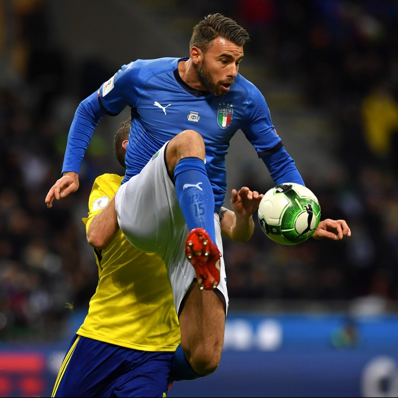 Barzagli's Match-Issue/Worn Shirt, Italy-Sweden 2017