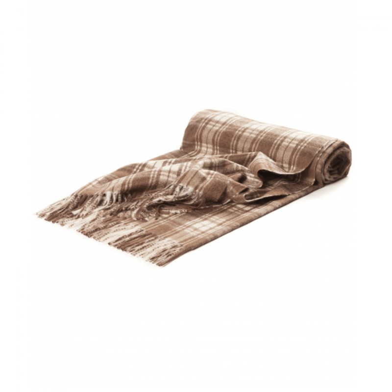 Cashmere Maxi Plaid Blanket with Beige-Brown Micro Check Pattern