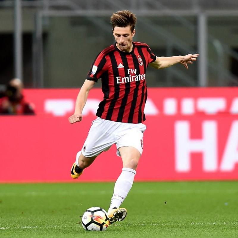 Gabbia's Match-Issue Milan-Bologna 2017 Signed Shirt