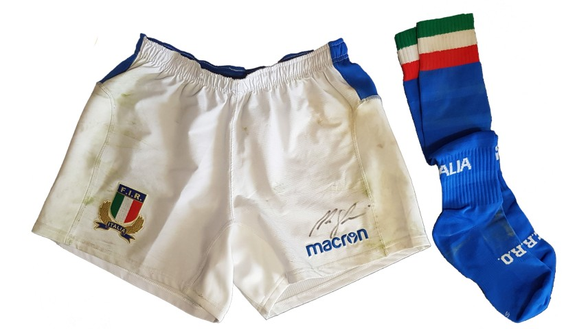 Ghiraldini's Worn and Signed Rugby Shorts and Socks