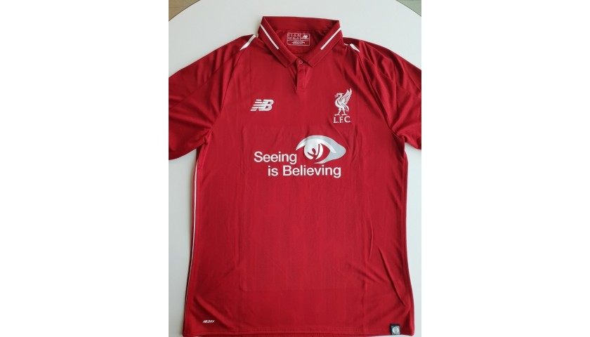 new product ac67a a2b47 Match-issued 2018/19 LFC Home Shirt signed by James ...