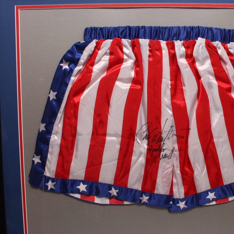 Carl Weathers Signed Boxing Trunks Framed