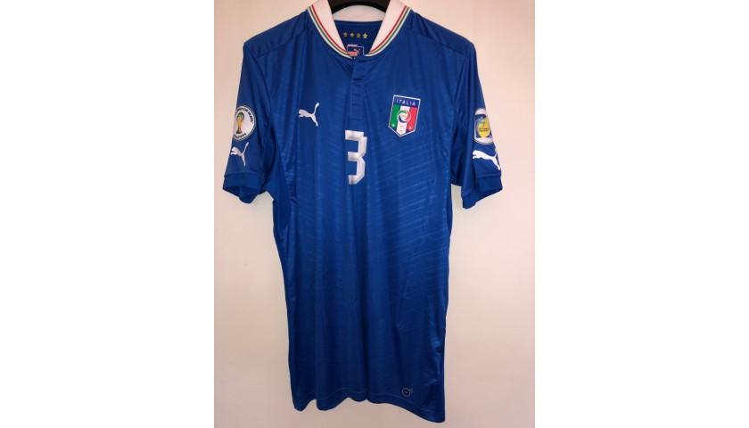 Chiellini's Signed Match Shirt, Italy-Czech Republic 2013