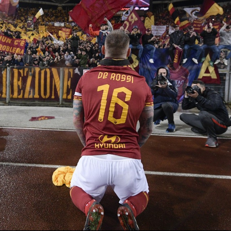 De Rossi's Authentic Roma Signed Shirt, 2018/19 Special Patch