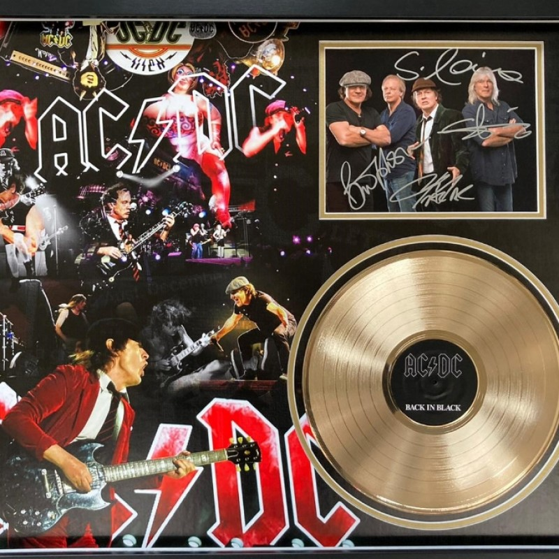 AC/DC Signed and Framed Photo And Gold Disc Display