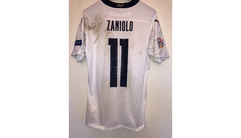 Zaniolo's Worn and Unwashed Shirt, Holland-Italy 2020