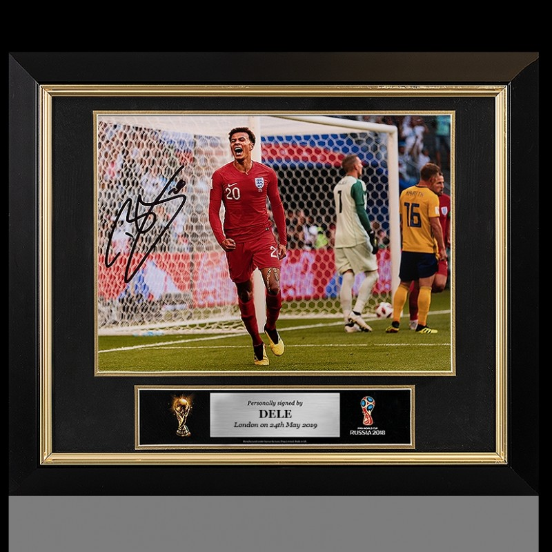 Dele Alli Official FIFA World Cup Signed and Framed England Photo: 2018 Quarter-Final Goal vs Sweden