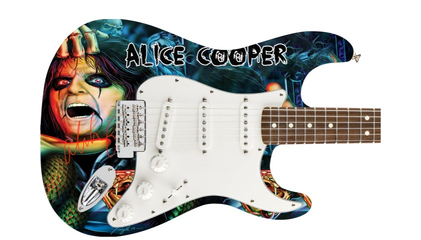 Alice Cooper Autographed Graphics Guitar