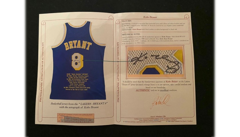 Kobe Bryant's Official LA Lakers Signed Jersey, 1998