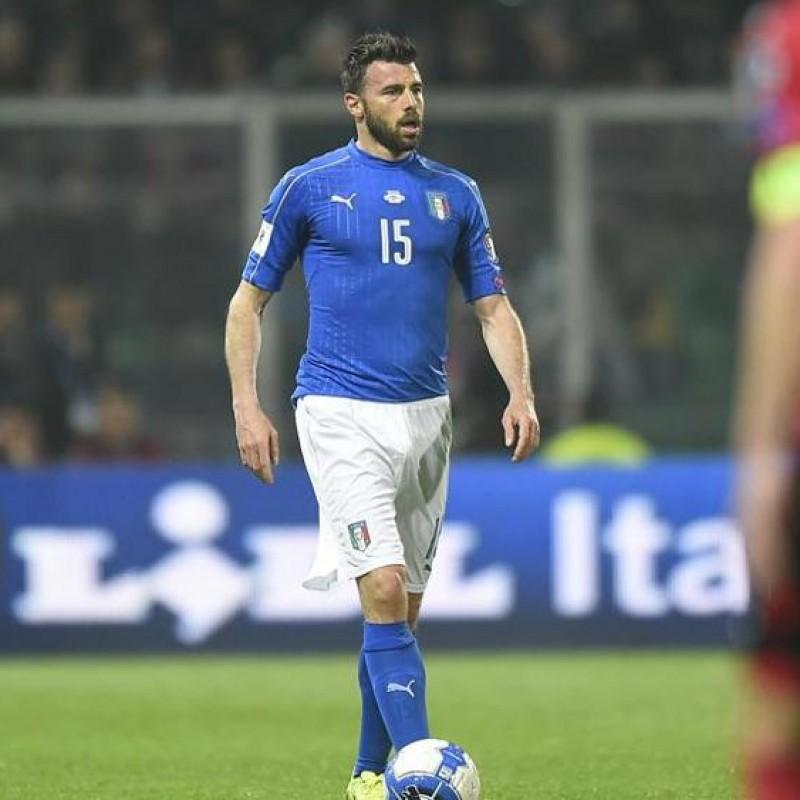 Barzagli's Match-Issue/Worn Shirt, Italy-Albania 2017