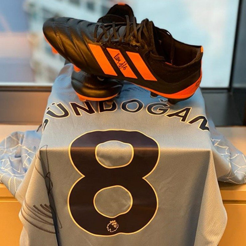 Original Ilkay Gündogan Match Worn and Signed Shirt and Boots vs. West Bromwich Albion